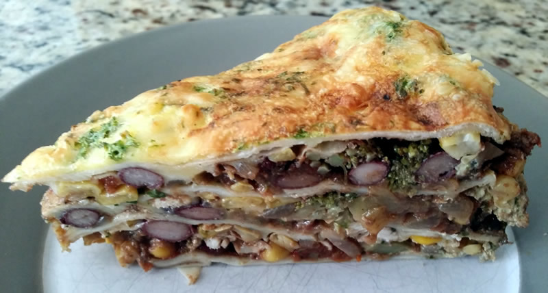 Baked Chicken and Broccoli Tortilla Stack