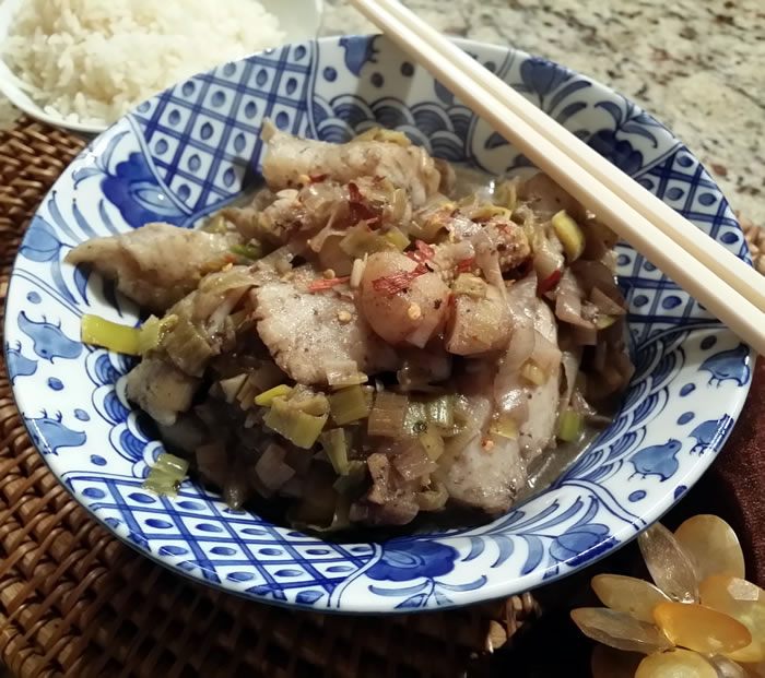 Chinese Fish and Leek Stir Fry