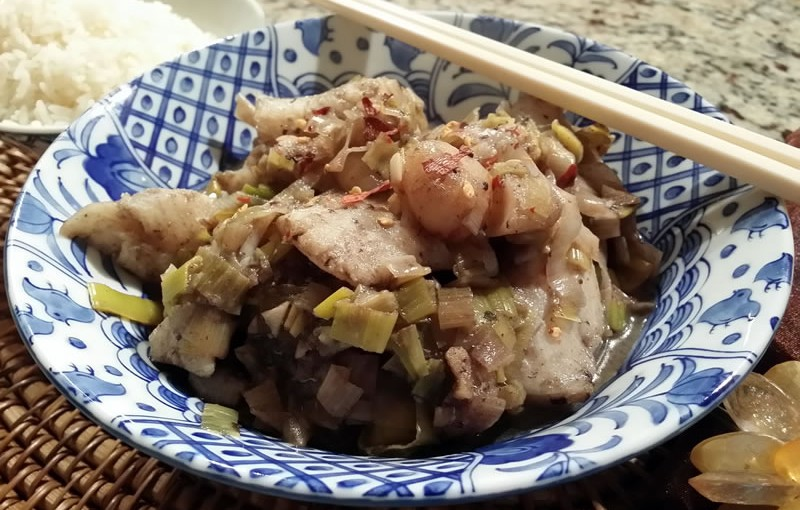 Chinese Leek and Fish Stir Fry