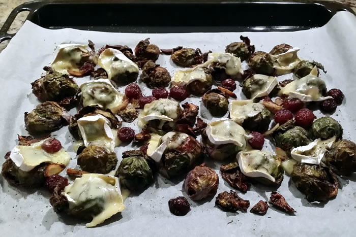 Roasted Brussel Sprouts (with Grapes and Camembert)