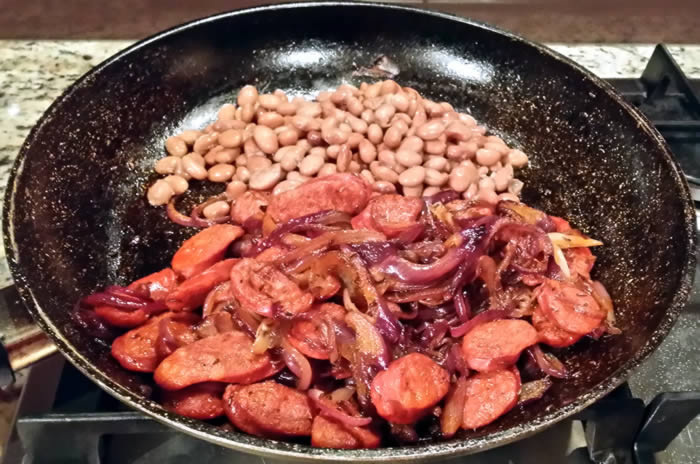 Warm Beetroot, Borlotti Bean and Chorizo Salad