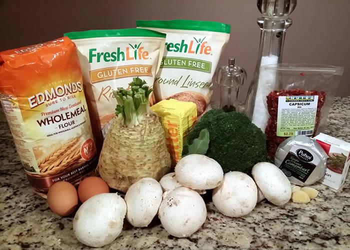 Celeriac, Broccoli, Mushroom and Camembert Pie