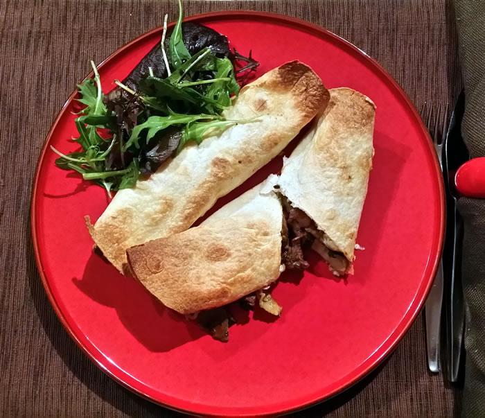 Baked Beef, Bacon and Mushroom Tortillas