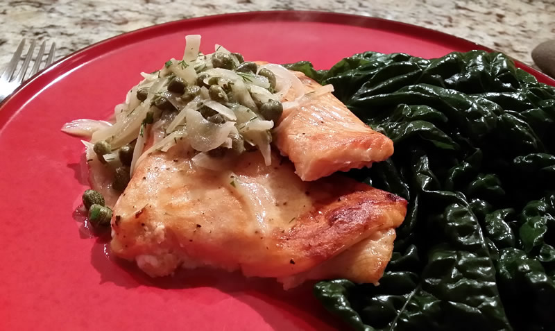 Grilled Salmon with Shallot Butter Sauce