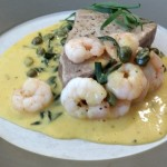 Seared Tuna Steaks with Prawn, Capers and Tarragon Hollandaise