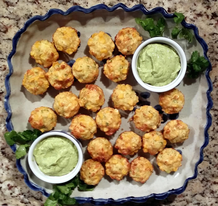 Corn and Haloumi Mini Muffins with Avocado Dip