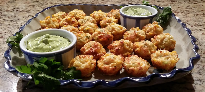 Corn & Haloumi Mini Muffins with Avocado Dip